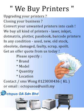 buy printer, used printers, old printers, faulty printers, laser printers, beli printer, we buy used printers